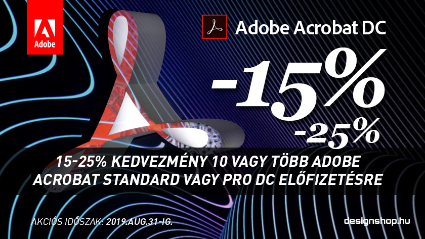 15-25% kedvezmény 10 vagy több Adobe Acrobat DC előfizetésre