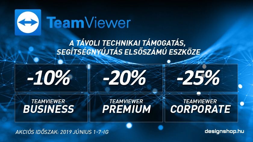 Új TeamViewer előfizetések 10-25% kedvezménnyel, 2019 június 7-ig