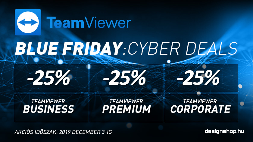 TeamViewer Cyber Deal -25% 2019 december 3-ig