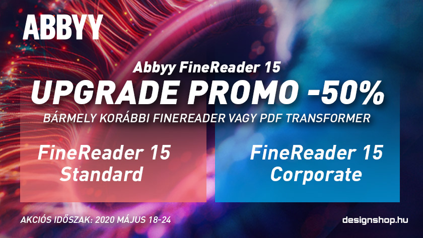 Frissíts Abbyy FineReader 15-re bármely korábbi verzióról 50% kedezménnyel