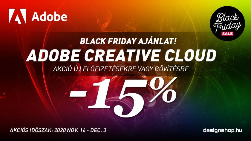 Adobe Creative Cloud új előfizetésre, vagy bővítésre 15% kedvezmény