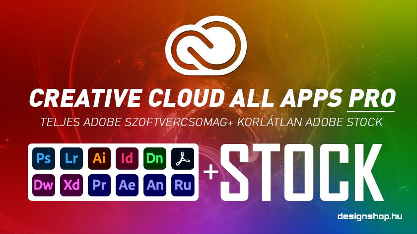 Creative Cloud All Apps PRO, korlátlan Adobe Stock eléréssel